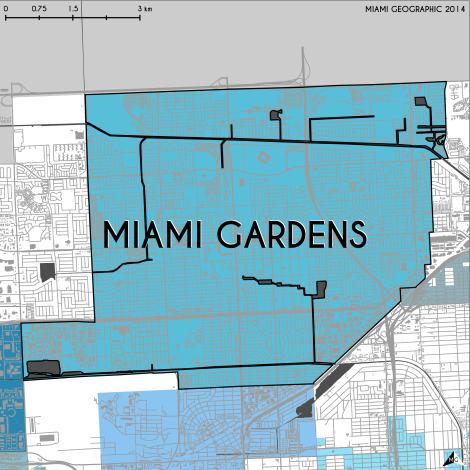 Miami-Dade Municipality: Miami Gardens, 2014. Source: Matthew Toro. 2014. [Note: Data used carry some minor geometric inaccuracies/errors. Not to be used for legal purposes.]