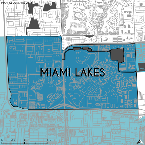 Miami-Dade Municipality: Miami Lakes, 2014. Source: Matthew Toro. 2014. [Note: Data used carry some minor geometric inaccuracies/errors. Not to be used for legal purposes.]