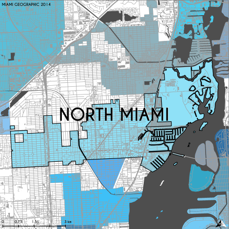 Miami-Dade Municipality: North Miami, 2014. Source: Matthew Toro. 2014. [Note: Data used carry some minor geometric inaccuracies/errors. Not to be used for legal purposes.]