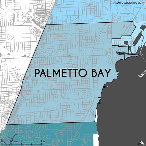 Miami-Dade Municipality: Palmetto Bay, 2014. Source: Matthew Toro. 2014. [Note: Data used carry some minor geometric inaccuracies/errors. Not to be used for legal purposes.]