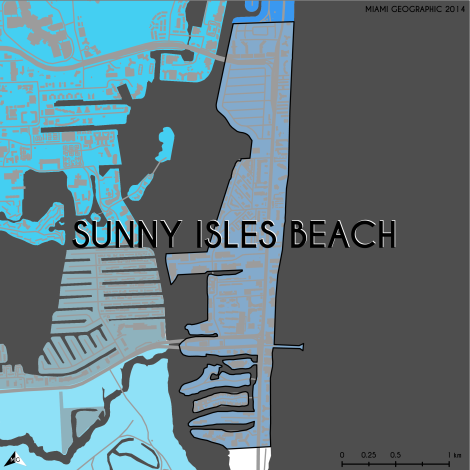 Miami-Dade Municipality: Sunny Isles Beach, 2014. Source: Matthew Toro. 2014. [Note: Data used carry some minor geometric inaccuracies/errors. Not to be used for legal purposes.]