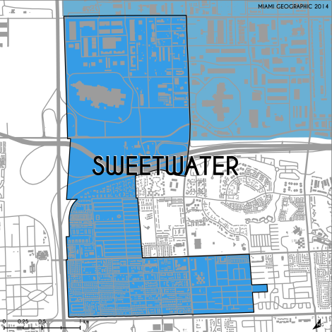 Miami-Dade Municipality: Sweetwater, 2014. Source: Matthew Toro. 2014. [Note: Data used carry some minor geometric inaccuracies/errors. Not to be used for legal purposes.]