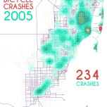 Miami-Dade Bicycle Crashes, 2005. Data Source: FDOT Safety Office. Map Source: Sebastien Lozano & Matthew Toro. 2015.