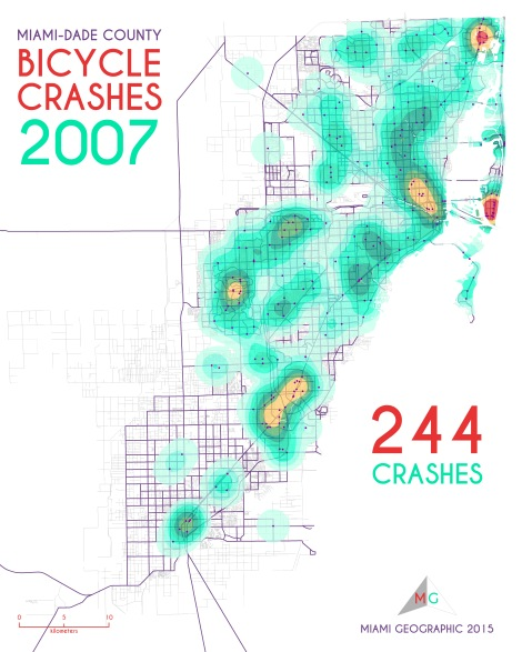 Miami-Dade Bicycle Crashes, 2007. Data Source: FDOT Safety Office. Map Source: Sebastien Lozano & Matthew Toro. 2015.