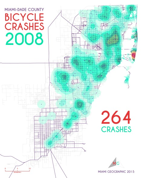 Miami-Dade Bicycle Crashes, 2008. Data Source: FDOT Safety Office. Map Source: Sebastien Lozano & Matthew Toro. 2015.