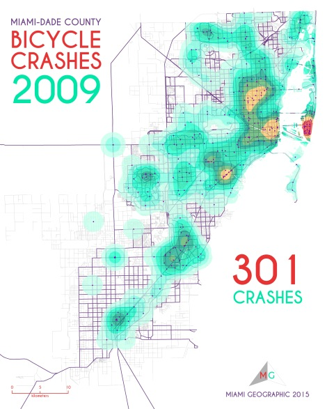 Miami-Dade Bicycle Crashes, 2009. Data Source: FDOT Safety Office. Map Source: Sebastien Lozano & Matthew Toro. 2015.
