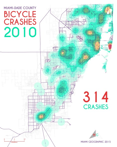 Miami-Dade Bicycle Crashes, 2010. Data Source: FDOT Safety Office. Map Source: Sebastien Lozano & Matthew Toro. 2015.