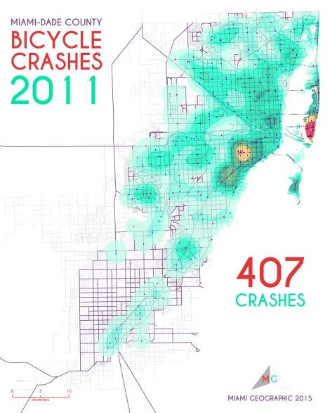 Miami-Dade Bicycle Crashes, 2011. Data Source: FDOT Safety Office. Map Source: Sebastien Lozano & Matthew Toro. 2015.