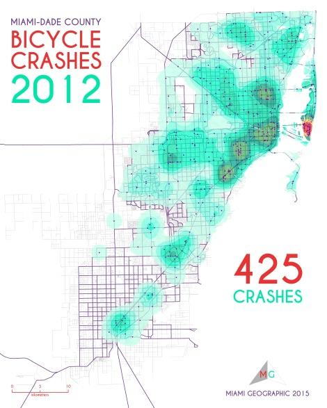 Miami-Dade Bicycle Crashes, 2012. Data Source: FDOT Safety Office. Map Source: Sebastien Lozano & Matthew Toro. 2015.