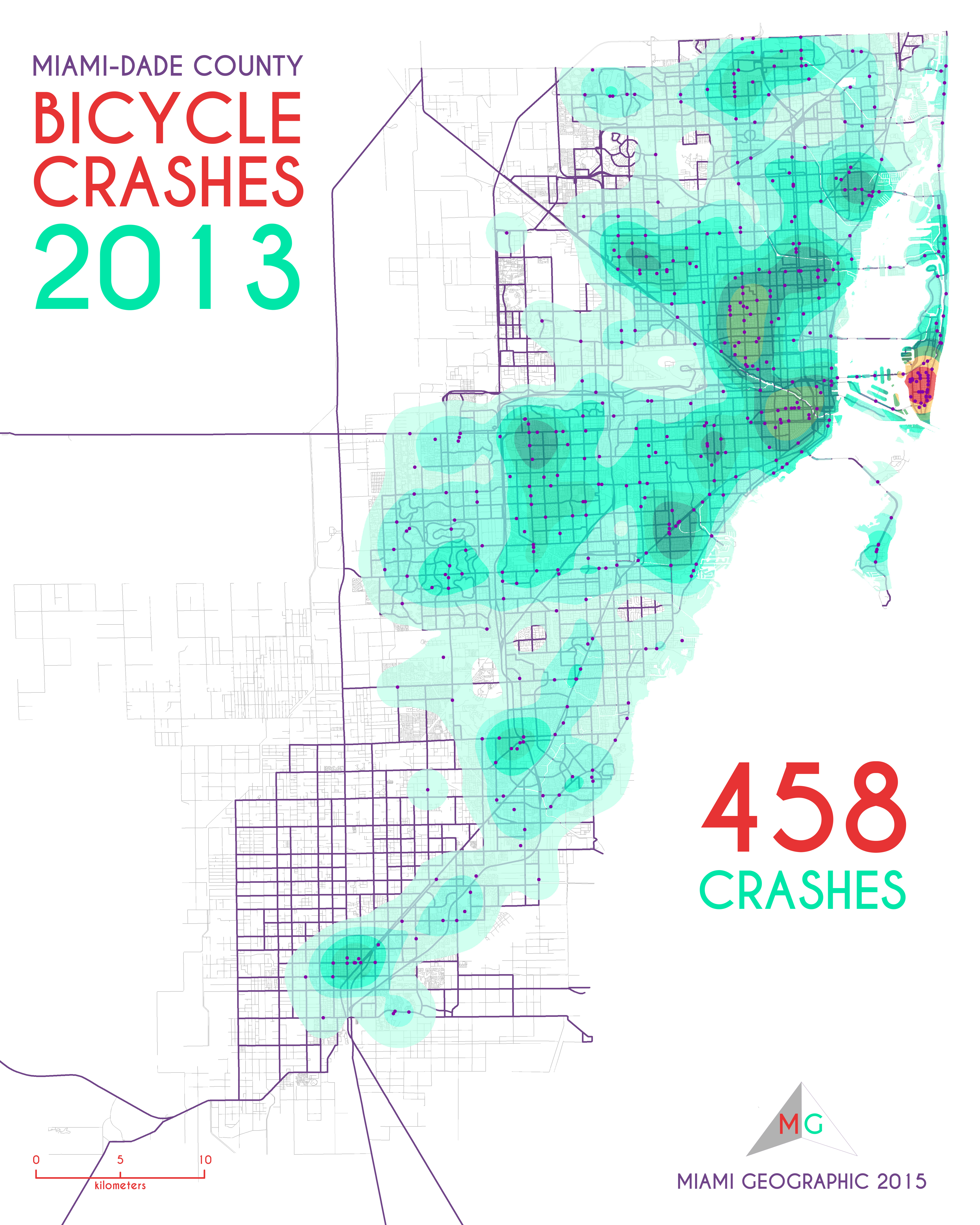 Bicycle Crashes in MiamiDade County 20052013 Miami Geographic