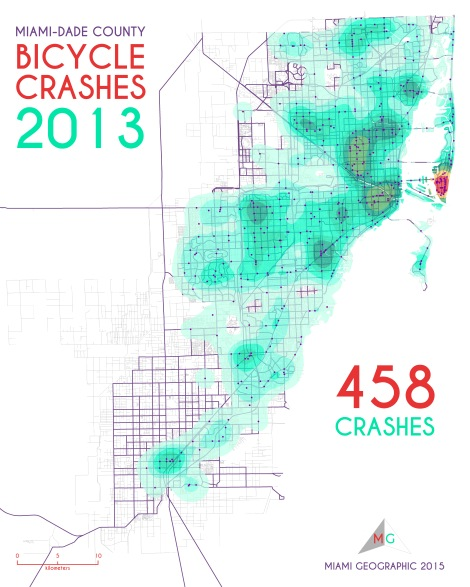 Miami-Dade Bicycle Crashes, 2013. Data Source: FDOT Safety Office. Map Source: Sebastien Lozano & Matthew Toro. 2015.