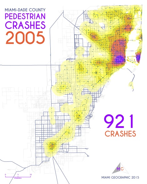 Miami-Dade Pedestrian Crashes, 2005. Data Source: FDOT Safety Office. Map Source: Sebastien Lozano & Matthew Toro. 2015.