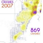 Miami-Dade Pedestrian Crashes, 2007. Data Source: FDOT Safety Office. Map Source: Sebastien Lozano & Matthew Toro. 2015.