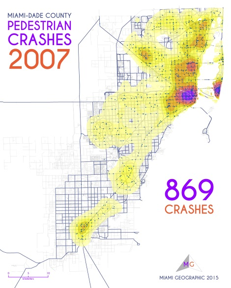 Miami-Dade Pedestrian Crashes, 2007. Data Source: FDOT Safety Office. Map Source: Sebastien Lozano & Matthew Toro. 2015.