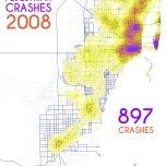 Miami-Dade Pedestrian Crashes, 2008. Data Source: FDOT Safety Office. Map Source: Sebastien Lozano & Matthew Toro. 2015.