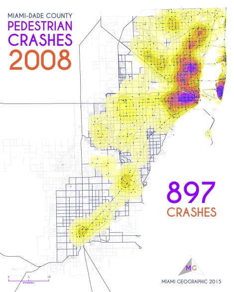 Miami-Dade Pedestrian Crashes, 2008. Data Source: FDOT Safety Office. Map Source: Sebastien Lozano & Matthew Toro. 2015.