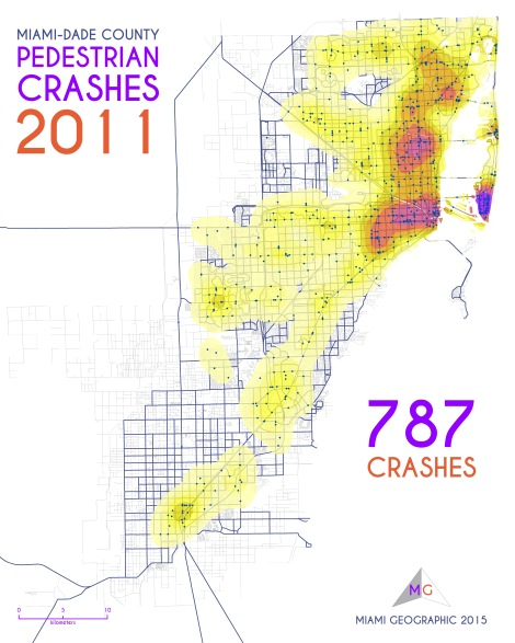 Miami-Dade Pedestrian Crashes, 2011. Data Source: FDOT Safety Office. Map Source: Sebastien Lozano & Matthew Toro. 2015.