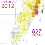 Miami-Dade Pedestrian Crashes, 2012. Data Source: FDOT Safety Office. Map Source: Sebastien Lozano & Matthew Toro. 2015.