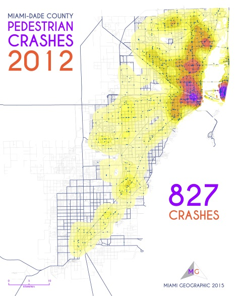 Miami-Dade Pedestrian Crashes, 2012. Data Source: FDOT Safety Office. Map Source: Sebastien Lozano & Matthew Toro. 2015.