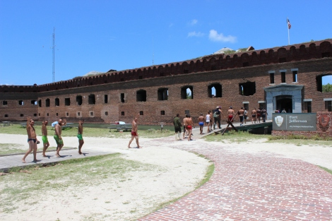 23 Cuban immigrants are escorted into historic Fort Jefferson. Photo Source: Matthew Toro. August 4, 2015.
