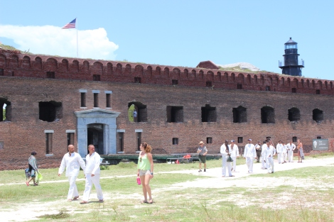 A couple hours after arriving, the men emerge from the residential quarters at Fort Jefferson in fresh white clothing provided by the park service. Photo Source: Matthew Toro. August 4, 2015.