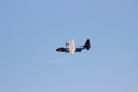 A United States Coast Guard patrol plane circles above Dry Tortugas National Park after identifying the group of Cuban immigrants. Photo Source: Matthew Toro. August 4, 2015.
