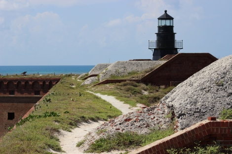 The Garden Key lighthouse, atop Fort Jefferson on Garden Key. Photo Source: Matthew Toro. August 4, 2015.