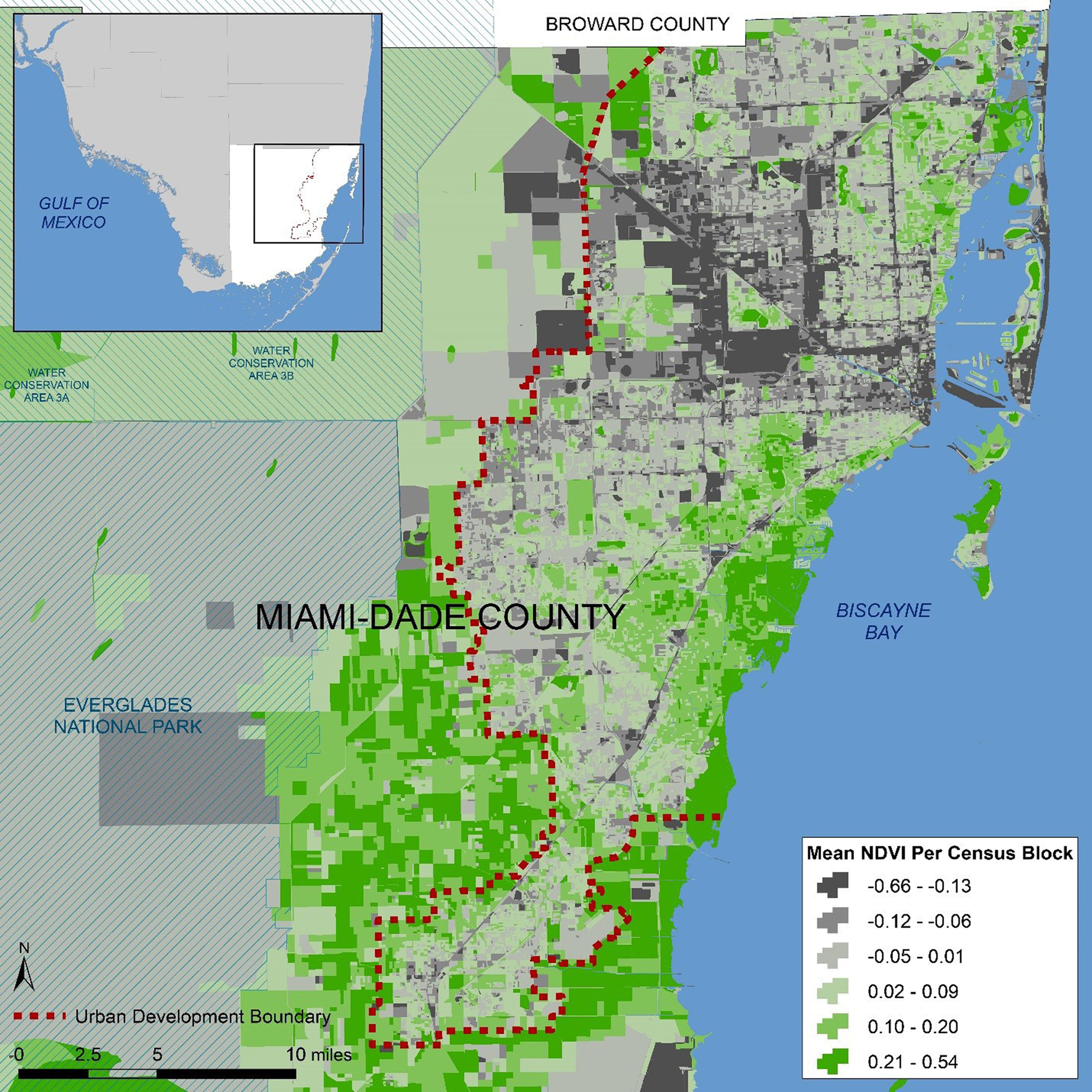 Urban Greenness  Chronic Illness  Miamis Built Environment - Florida county map with population
