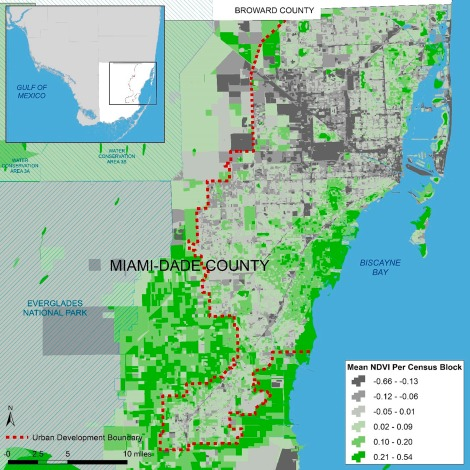 Mean Normalized Difference Vegetation Index (NDVI) for Miami-Dade County, Florida's Census Blocks. Map Source: Matthew Toro. 2016. [Reprinted with copyright clearance permission of Elsevier, publisher of the American Journal of Preventive Medicine.]